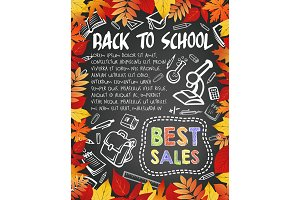 Back to School vector blackboard poster