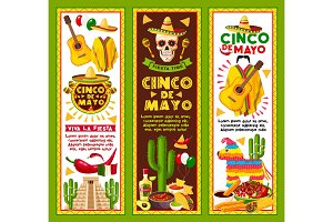 Vector banners for Cinco de Mayo Mexican holiday