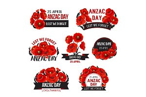 Anzac Day Lest We Forget poppy vector ribbons icons