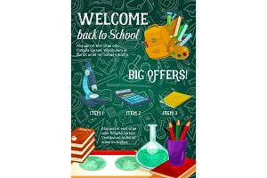 Back to School vector sale green chalkboard poster