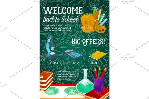 Back To School Vector Sale Green Chalkboard Poster