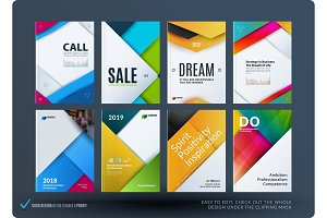 Material design of brochure set, abstract annual report, horizontal cover layout, flyer