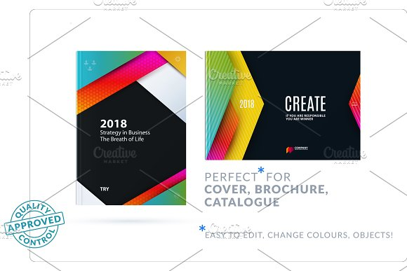 Material Design Of Brochure Set Abstract Annual Report Horizontal Cover Layout Flyer
