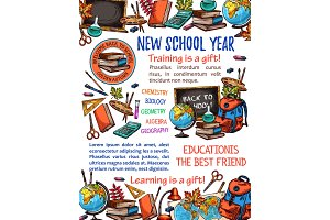 Back to School vector sketch stationery poster