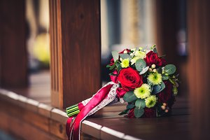 A wedding green-red bouquet