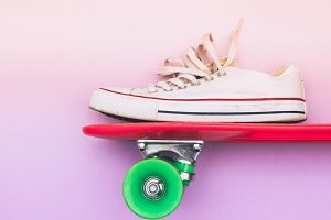 sneaker on skateboard