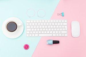 Styled women's desk. Pastel color