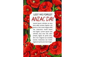 Anzac Day poppy vector Lest We Forget poster