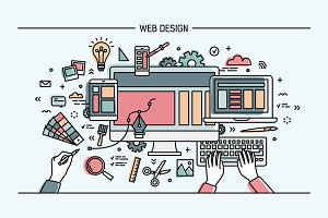 Web designe. Line art banner