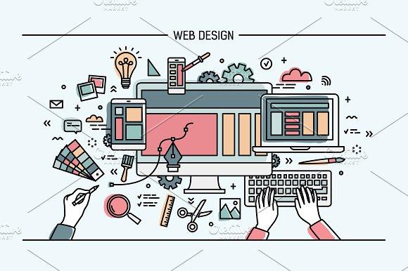 Web Designe Line Art Banner