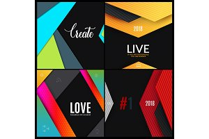 Set. Material design of abstract vector elements for graphic template.