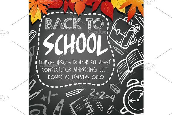 Back To School Vector Chalkboard Study Poster