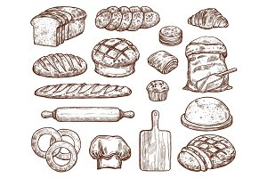 Bakery set with a lot of types fresh bread.