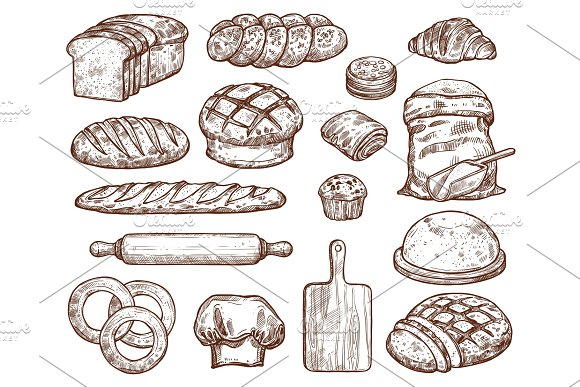 Bakery Set With A Lot Of Types Fresh Bread