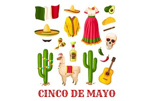Cinco de Mayo mexican holiday celebration icon