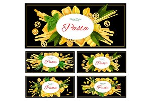 Different Italian pasta vector