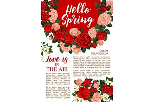 Vector rose flowers poster for springtime season