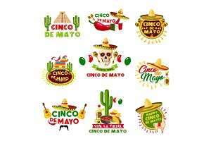 Mexican Cinco de Mayo holiday vector Mexico icons