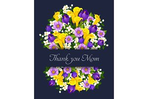 Vector Mothers Day flowers greeting card