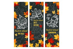 Back to School vector sale web banner design