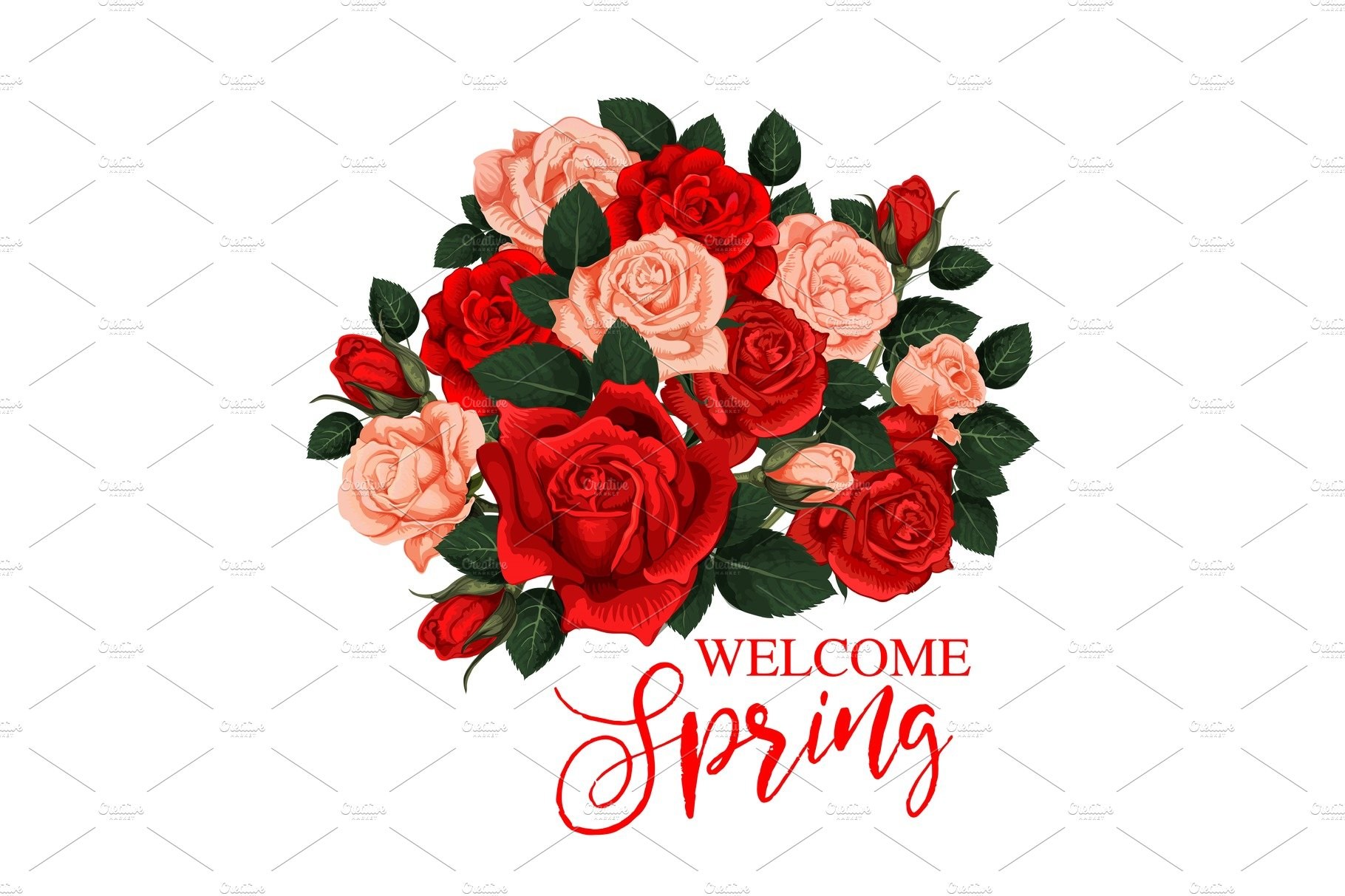 Welcome Spring Greeting Card Illustrations Creative Market