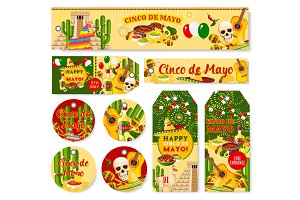 Cinco de Mayo Mexican holiday fiesta vector tags