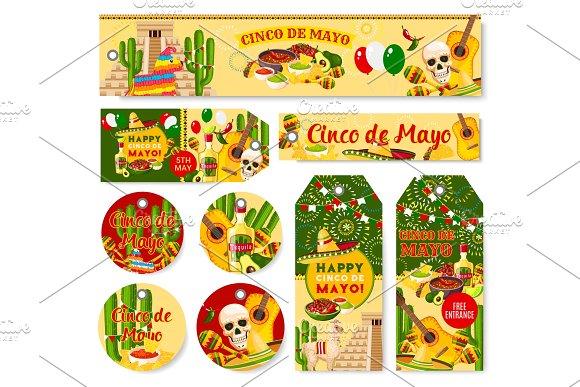 Cinco De Mayo Mexican Holiday Fiesta Vector Tags