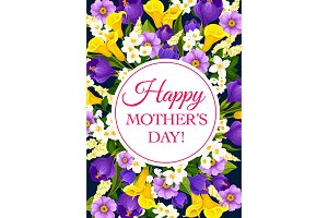 Vector Mother Day holiday flowers greeting card