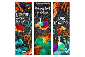 Back to school sale banner with special offer