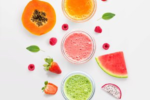 Smoothies with fruits