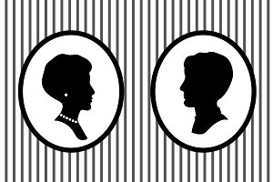 Man and woman black silhouettes