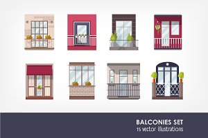 Set of 15 balconies