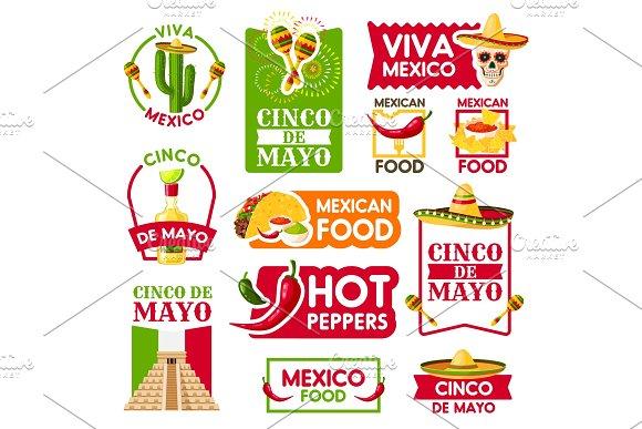 Mexican Vector Icons For Cinco De Mayo Holiday