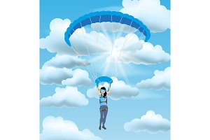 Skydiver woman flying in the blue cloudy sky. Vector female character illustration in flat style.