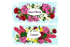 Vector banner with flowers