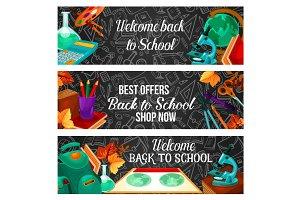 Back to school special offer sale banner design