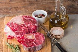 Raw fresh cross cut veal shank