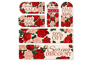 Vector rose flowers tags for spring season sale