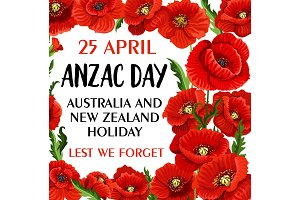 Anzac Day Lest We Forget poppy vector memory card