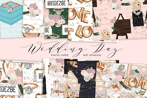 Wedding Day Digital Paper Set