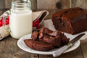 Chocolate-banana Loaf cake on paper