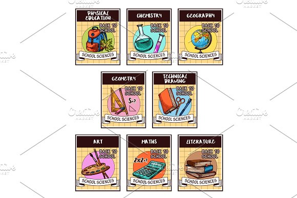 School Science And Education Supplies Card Design