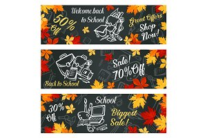 Back to School vector sale promo banners