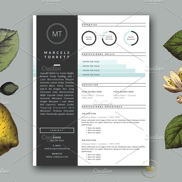 modern cv template for word resume templates creative market