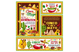 Vector posters Mexican Cinco de Mayo fiesta party