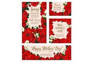 Vector spring flowers of Mother day greeting cards