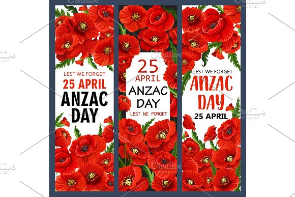 Anzac Day 25 April Poppy Vector War Memory Banners