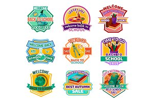 Back to School vector autumn sale icons
