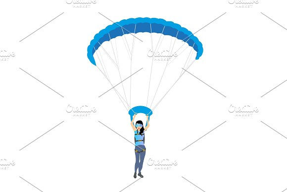Skydiver Woman Flying Vector Female Character Illustration Isolated On The White Background