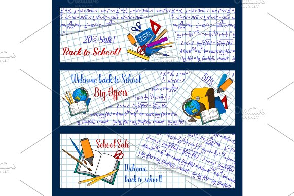 Back To School Vector Stationery Sale Banners